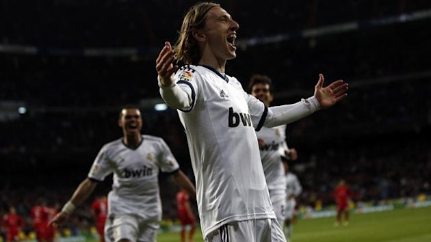 Real Madrid's Luka Modric celebrates scoring against Real Mallorca (Reuters)