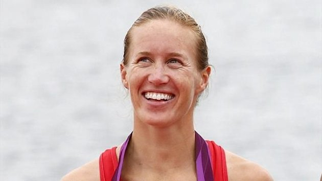 Britain's Helen Glover after winning gold in the women's pairs
