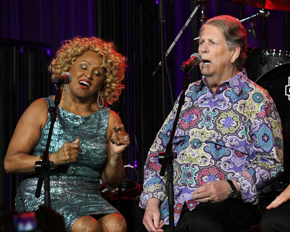 "Singers Darlene Love and Brian WIlson perform at the ""Right To Rock Benefit"" at Cipriani Wall Street, on Thursday, Oct. 17, 2013 in New York. (Photo by Greg Allen/Invision/AP)"