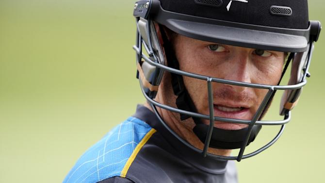 New Zealand's Martin Guptill attends a training session during the 2015 World Cup, in Auckland on March 23, 2015