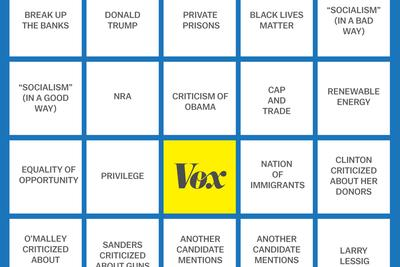Democratic debate Vox bingo cards