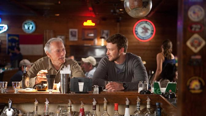 """This film image released by Warner Bros. Pictures shows Clint Eastwood, left, and Justin Timberlake in a scene from """"Trouble with the Curve."""" The film, about an aging and ailing baseball scout, will be released on Sept. 21. (AP Photo/Warner Bros. Pictures, Keith Bernstein)"""