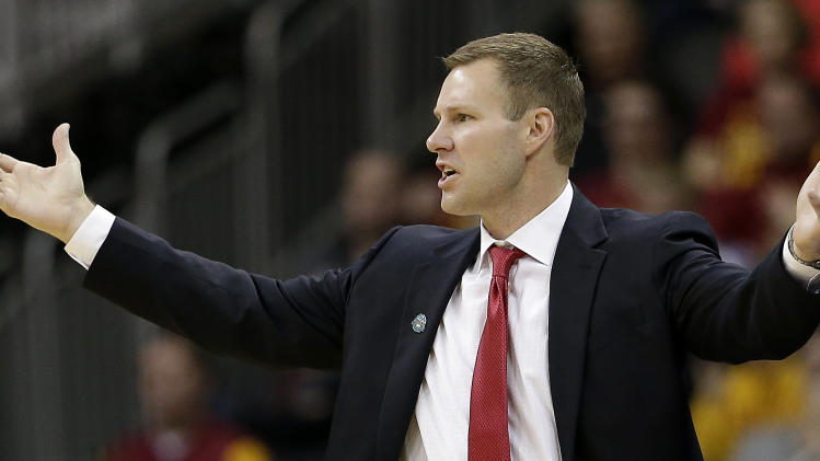 Iowa State coach Fred Hoiberg questions a call during the first half of an NCAA college basketball game against the Baylor in the Big 12 men's tournament final Saturday, March 15, 2014, in Kansas City, Mo. (AP Photo/Charlie Riedel)