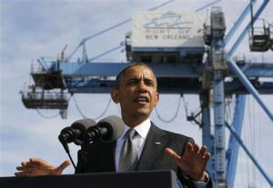 U.S. President Obama talks about the importance of growing the U.S. economy while at the Port of New Orleans