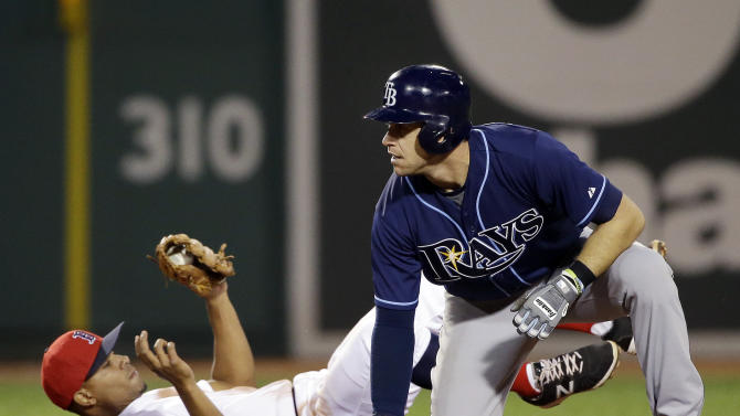 Boston Red Sox shortstop Xander Bogaerts holds onto the ball after Tampa Bay Rays' Evan Longoria is doubled off second base on a line drive to centerfield by Logan Forsythe in the fourth inning of a baseball game against the Boston Red Sox at Fenway Park in Boston, Tuesday, May 5, 2015. (AP Photo/Elise Amendola)