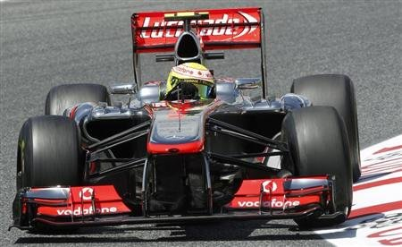 McLaren F1 driver Perez of Mexico drives during the second practice session during the Spanish Grand Prix at the Circuit de Catalunya