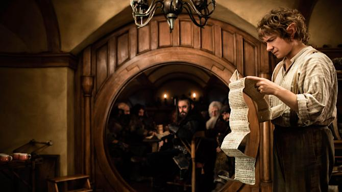 "This film image released by Warner Bros. shows Martin Freeman as Bilbo Baggins in a scene from the fantasy adventure ""The Hobbit: An Unexpected Journey.""   (AP Photo/Warner Bros., James Fisher)"