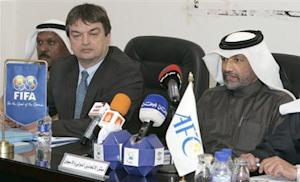 AFC's president Bin Hammam and FIFA's director for international relations, Jerome Champagne, attend meeting in Kuwait
