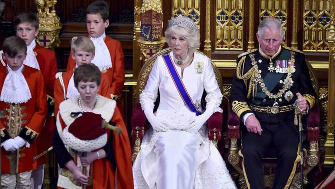 Britain's Prince Charles and his wife Camilla attend the State Opening of Parliament in the Palace of Westminster in London