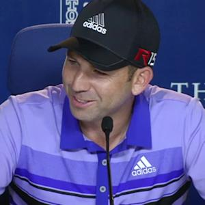 Sergio Garcia on the caddie competition on No. 17 before THE PLAYERS
