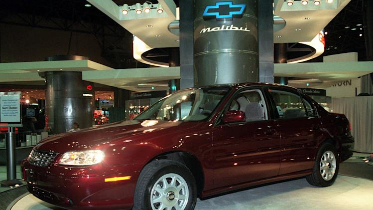 "File-This March 27, 1997, file photo shows 1998 Chevrolet Malibu at the media preview of the New York International Automobile Show. General Motors' safety crisis worsened on Monday, June 30, 2014, when the automaker added 8.2 million vehicles to its huge list of cars recalled over faulty ignition switches. The latest recalls cover seven vehicles, including the Chevrolet Malibu from 1997 to 2005 and the Pontiac Grand Prix from 2004 to 2008. The recalls also cover a newer model, the 2003-2014 Cadillac CTS. GM said the recalls are for ""unintended ignition key rotation."" (AP Photo/Ed Bailey, File)"