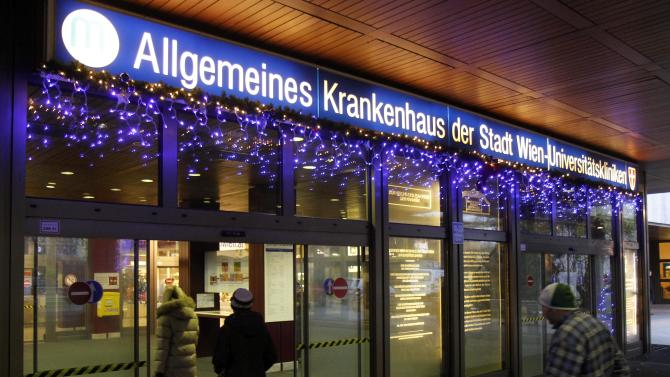 The entrance  of Vienna General Hospital, AKH, photographed  in Vienna, Austria, Thursday, Nov 24, 2011. British singer George Michael was admitted to the hospital  Wednesday suffering from a suspected case of  pneumonia .(AP Photo/Ronald Zak)