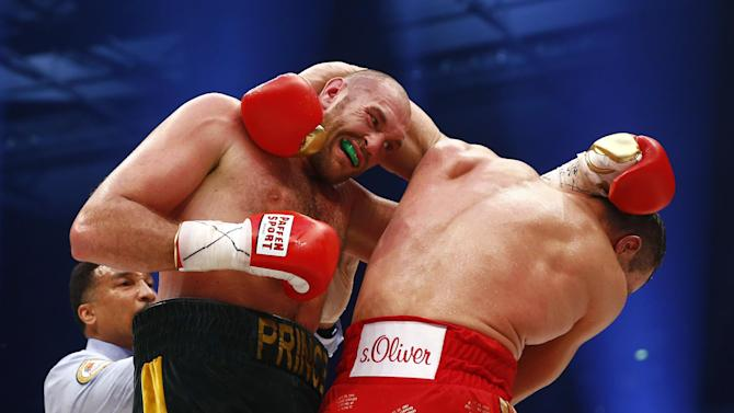 Tyson Fury in action against Wladimir Klitschko during the fight