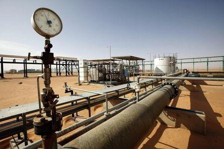 Pipes are pictured at the El Sharara oilfield