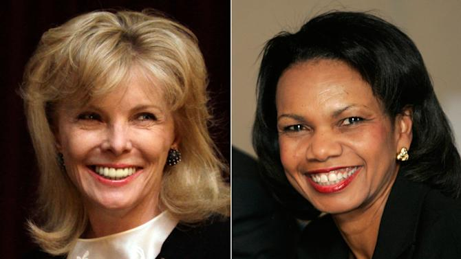 FILE - At left, in a March 24, 2011 file photo, Darla Moore speaks to students at the University of South Carolina in Columbia, S.C. At right, in a Jan. 24, 2008 file photo, U.S. Secretary of State Condoleeza Rice smiles during a meeting with trade union leaders in Medellin, Colombia. For the first time in it's 80-year history, Augusta National Golf Club has female members. The home of the Masters, under increasing criticism the last decade because of its all-male membership, invited former Secretary of State Rice and South Carolina financier Moore to become the first women in green jackets when the club opens for a new season in October. (AP Photo/File)