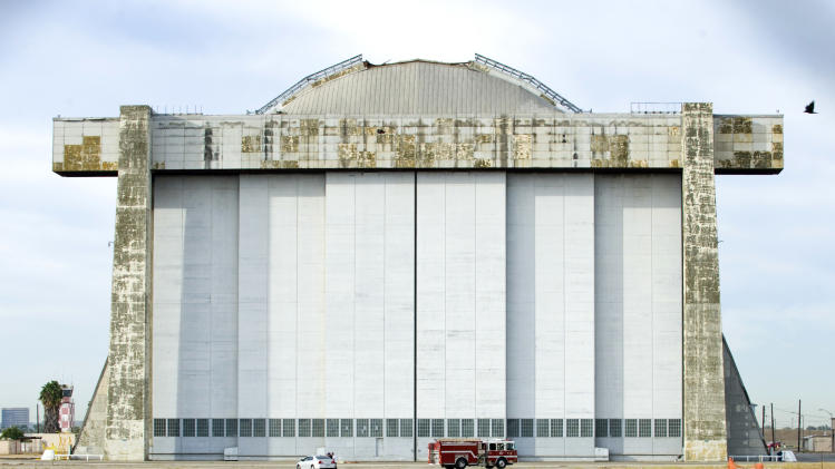 Roof failure at Calif. base damages airship