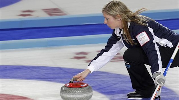 Scotland's skip Eve Muirhead delivers a stone during their World Women's Curling Championship qualification round match against U.S. in Riga (Reuters)