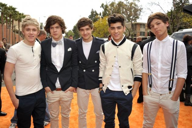 Niall Horan, Liam Payne, Harry Styles, Zayn Malik, and Louis Tomlinson of One Direction arrive at Nickelodeon's 25th Annual Kids' Choice Awards held at Galen Center in Los Angeles on March 31, 2012  -- Getty Images