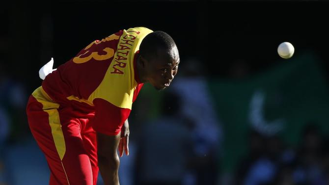 Zimbabwe's Tendai Chatara bowls during the Cricket World Cup match against Pakistan at the Gabba in Brisbane
