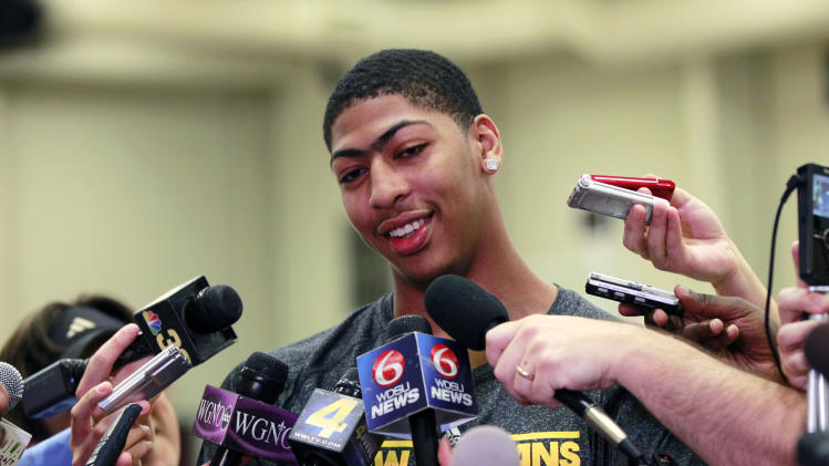 Anthony Davis talks to reporters while visiting the New Orleans Hornets, who have the first pick of the June 28th draft, at their practice facility in Westwego, La., Tuesday, June 19, 2012. The Hornets appear increasingly serious about pairing another front-court prospect with the consensus top overall draft choice.  (AP Photo/Gerald Herbert)