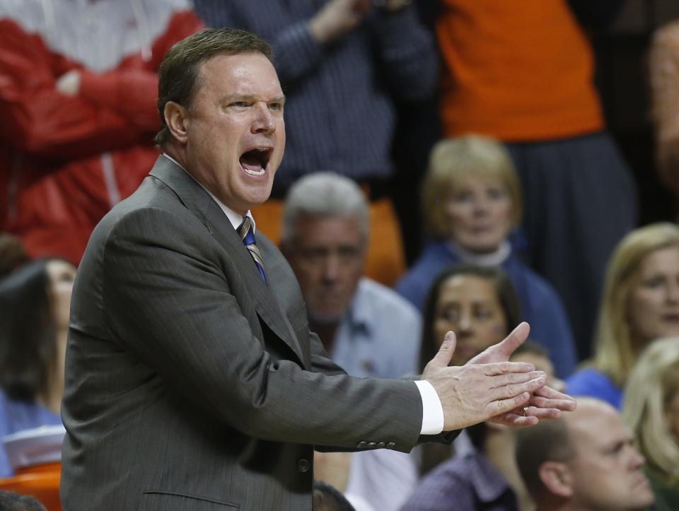 Kansas head coach Bill Self shouts during the first half of an NCAA college basketball game against Oklahoma State in Stillwater, Okla., Wednesday, Feb. 20, 2013. (AP Photo/Sue Ogrocki)
