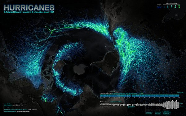 Map shows hurricanes and tropical storms that have churned across the globe from 1851 through 2010.