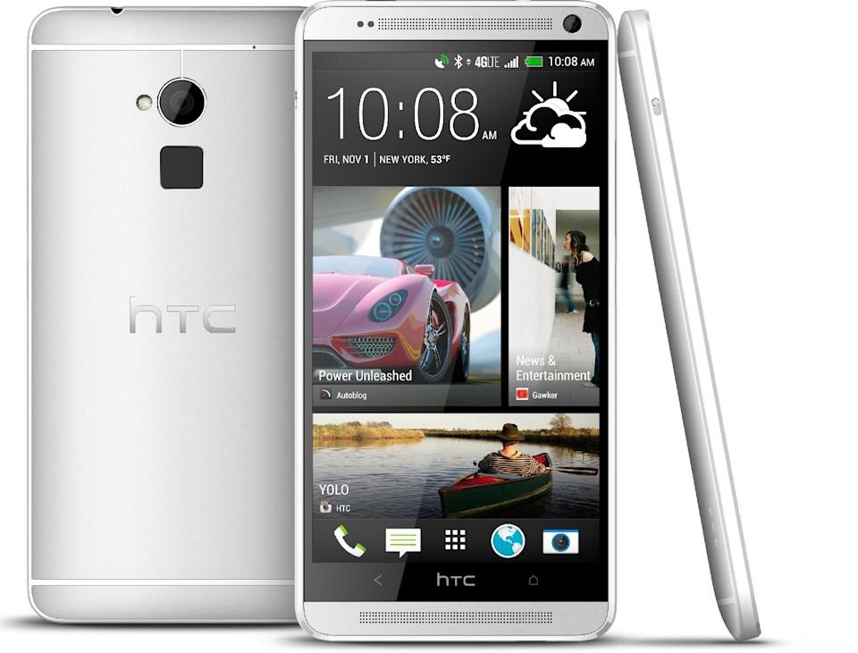 The new HTC One Max phone is seen in an undated photo provided by HTC Corp. The new HTC One Max will have one feature unavailable with the smaller models: a fingerprint identification sensor similar to that on Apple's new iPhone 5S. It's an optional way to unlock a phone without needing a four-digit passcode. (AP Photo/HTC Corp.)