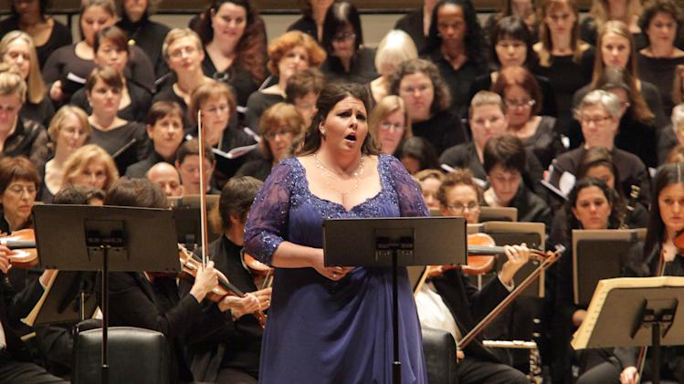 "In this  Dec. 5, 2012 photo provided by Carnegie Hall, Angela Meade performs Bellini's ""Beatrice di Tenda"" at Carnegie Hall in New York. James Bagwell conducted the Collegiate Chorale and the American Symphony Orchestra in the seldom-performed work. (AP Photo/Carnegie Hall, Erin Baiano)"