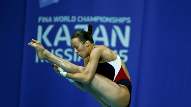 Parratto from the US performs a jump during the mixed team event final at the Aquatics World Championships in Kazan