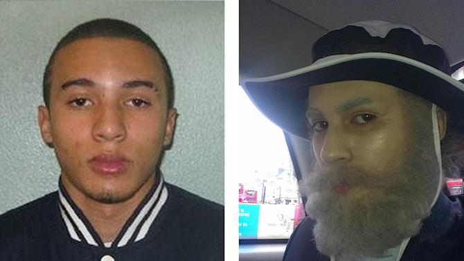 This combo image released by London's Metropolitan Police Saturday Nov. 10, 2012 shows British schoolboy Miles Alura, 16, left, and Alura wearing a sophisticated prosthetic disguise, right, to commit violent armed robberies. British police say a 16-year-old boy who used prosthetics and dreadlocks to conduct armed robberies in disguise has been jailed for five years. Police say Miles Alura pretended to be an elderly man with facial prosthetics, make-up and a hair piece to steal 50,000 pounds ($79,500) of jewelry from a shop in Kent, England in July. They say he produced two handguns and tied up employees before fleeing.    (AP Photo/London Metropolitan Police, HO)