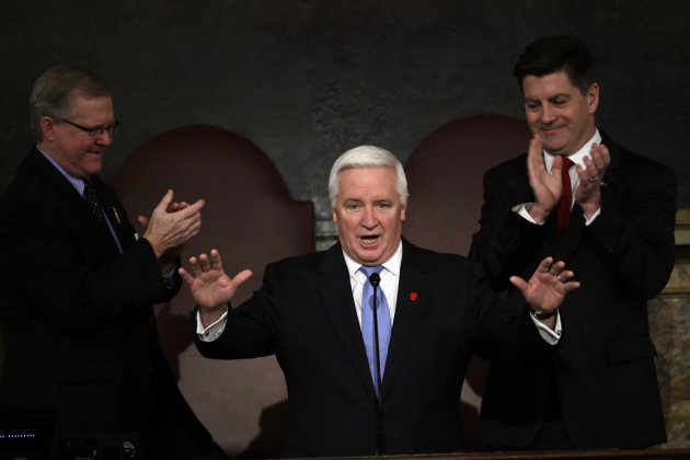 &lt;p&gt;               Gov. Tom Corbett gestures as he is applauded at a joint session of the Pennsylvania House and Senate on Tuesday, Feb. 5, 2013, in Harrisburg, Pa. during the state budget address.   Pennsylvania Lt. Gov. Jim Cawley is seen on right, and Speaker of the Pennsylvania House of Representatives, Rep. Sam Smith, R-Jefferson, is seen on left. (AP Photo/Matt Rourke)