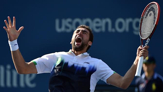 Marin Cilic of Croatia celebrates his win over Tomas Berdych of the Czech Republic during their 2014 US Open men's quarterfinal singles match on September 4, 2014, in New York
