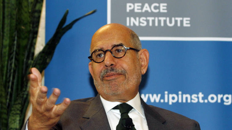 "Former Director General of the International Atomic Energy Agency, IAEA, and Nobel Peace Prize winner Mohamed El Baradei speaks to the media in Vienna, Austria, Thursday May 24, 2012. As Egyptians chose their first democratically elected president, reform leader ElBaradei says who wins is less important than establishing national unity. He told The Associated Press that choice between reformist, Islamist or pragmatist pales behind getting Egyptians to agree ""on the basic common values that they're going to live under."" (AP Photo/Ronald Zak)"