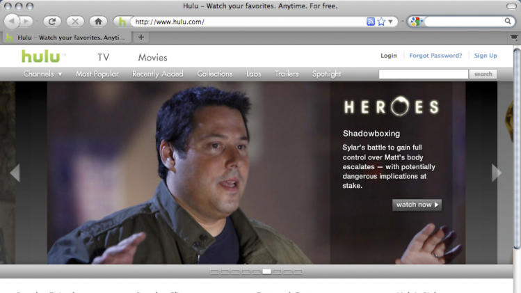 FILE - This Nov. 11, 2009 file screen grab shows the home page of Hulu.com. The on-again, off-again sale of Hulu is off again. The parent companies of ABC, NBC and Fox said Friday that they would stay owners of Hulu, while providing a cash infusion of about $750 million to ensure future growth. The owners had accepted formal bids for the online video service last week, the second time in three years they tried to sell the company. But the announcement Friday suggests the bids were too low. Reports pegged the high end of bidding around $1 billion, which is half of what the online video provider was valued at when the existing owners bought out Providence Equity Partners' 10 percent stake for $200 million in April 2012.(AP Photo/Hulu, File)**NO SALES**