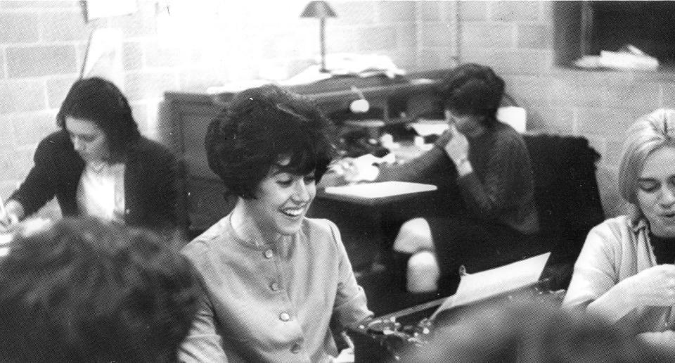This 1962 yearbook  image released by Wellesley College shows Nora Ephron, editor of the Wellesley News in the newsroom at Wellesley College in Wellesley, Mass. Ephron died Tuesday, June 26, 2012, of leukemia in New York. She was 71. (AP Photo/Wellesley College)