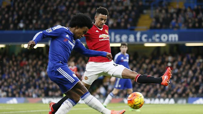 Chelsea's Willian in action with Manchester United's Cameron Borthwick Jackson