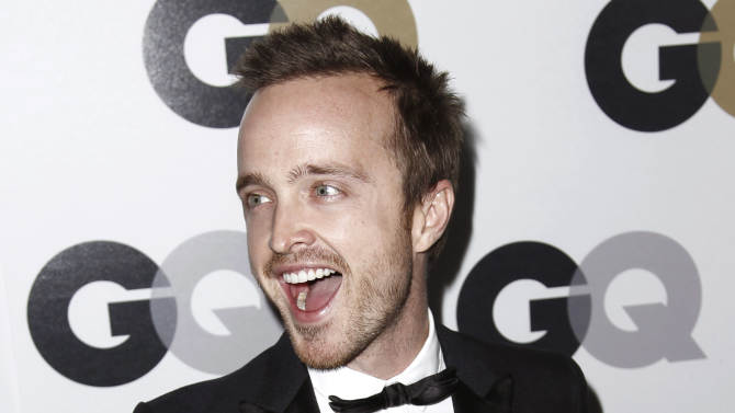 """Honoree Aaron Paul arrives at the 16th annual GQ """"Men of the Year"""" party in Los Angeles, Thursday, Nov. 17, 2011. (AP Photo/Matt Sayles)"""