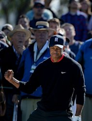 Tiger Woods clenches his fist after hitting out of the 11th green bunker en route to victory during the final round at the Farmers Insurance Open at Torrey Pines on January 28, 2013. Woods completed a final-round par 72 despite going three-over in the closing stretch, finishing 72 holes on 14-under par 274