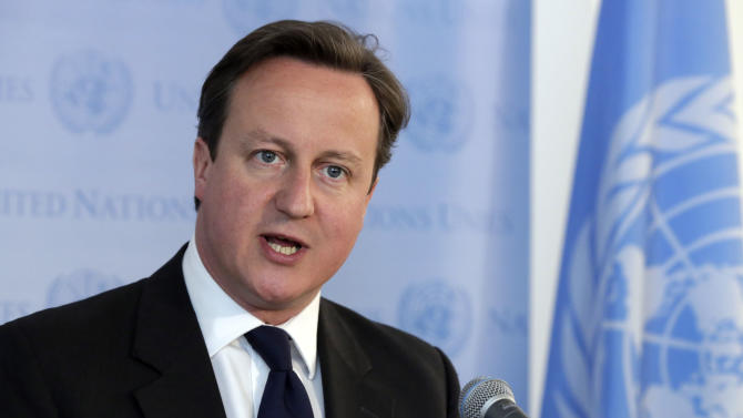 British Prime Minister David Cameron speaks at a press encounter at United Nations headquarters, after the meeting of the High Level Panel on the Post-2015 Development Agenda, Wednesday, May 15, 2013. (AP Photo/Richard Drew)