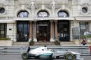 Mercedes driver Nico Rosberg of Germany steers his car during the third free practice session at the Monaco racetrack, in Monaco, Saturday, May 25, 2013. The formula one race will be held on Sunday. (AP Photo/Claude Paris)