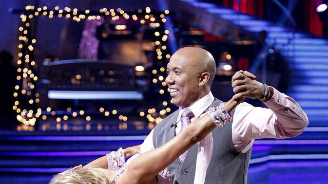 "Hines Ward and Kym Johnson perform on ""Dancing with the Stars."""