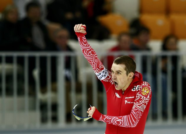 Yuskov of Russia celebrates as he won the men's 1500m speed skating event at the Essent ISU World Single Distances Championships 2013 in Sochi