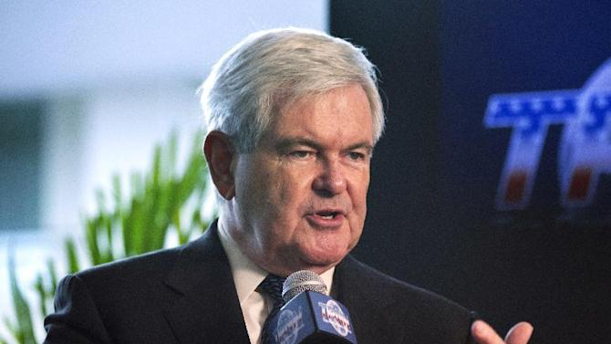 Former House Speaker Newt Gingrich, R-Ga., is interviewed at the 40th annual Conservative Political Action Conference (CPAC) in National Harbor, Md., Thursday, March 14, 2013.  (AP Photo/Manuel Balce Ceneta)