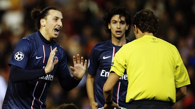 PSG&#39;s Zlatan Ibrahimovic against Valencia (AFP)