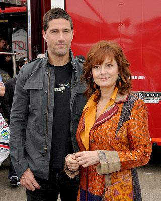 Matthew Fox and Susan Sarandon at the Long Beach Grand Prix and Toyota Pro/Celebrity Race for the Speed Racer cast photo shoot