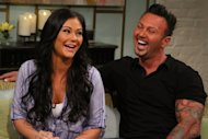 Jenni &#39;JWoww&#39; Farley and boyfriend Roger laugh it up on the set of Access Hollywood Live set on July 23, 2012 -- Access Hollywood