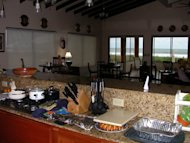 Our open kitchen overlooking the entire house and the beach view