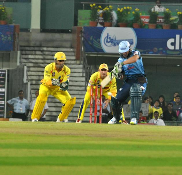AB De Villiers of Titans during the Champions League T20, 3rd match, Group B, between Chennai Super Kings and Titans at JSCA International Cricket Stadium, Ranchi on Sept. 22, 2013. (Photo: IANS)