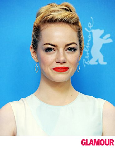 Emma Stone Pulls Back Bangs For a Retro Hairstyle
