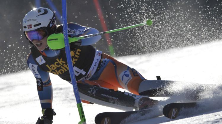 Kristoffersen of Norway clears a gate during the first run of the Alpine Skiing World Cup men's slalom ski race in Kranjska Gora
